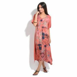 100 % Lin  Dress  women's Long Dress in Red