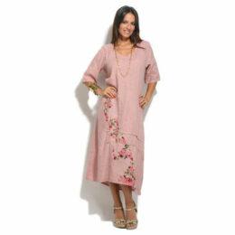 100 % Lin  Dress  women's Long Dress in Pink
