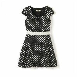 Short-Sleeved Polka Dot Dress
