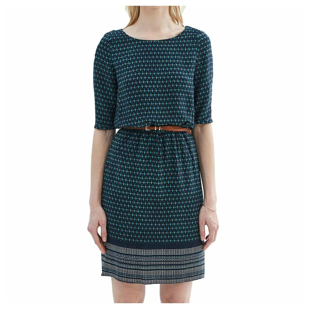 Printed Short-Sleeved Dress with Belt