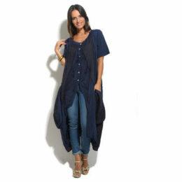 100 % Lin  Tunic  women's Tunic dress in Blue