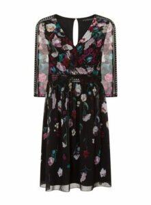 **Little Mistress Floral Print Prom Dress, Bright Multi