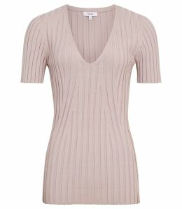 Reiss Aster - Ribbed-knit Short Sleeved Top in Ash Pink, Womens, Size XXL