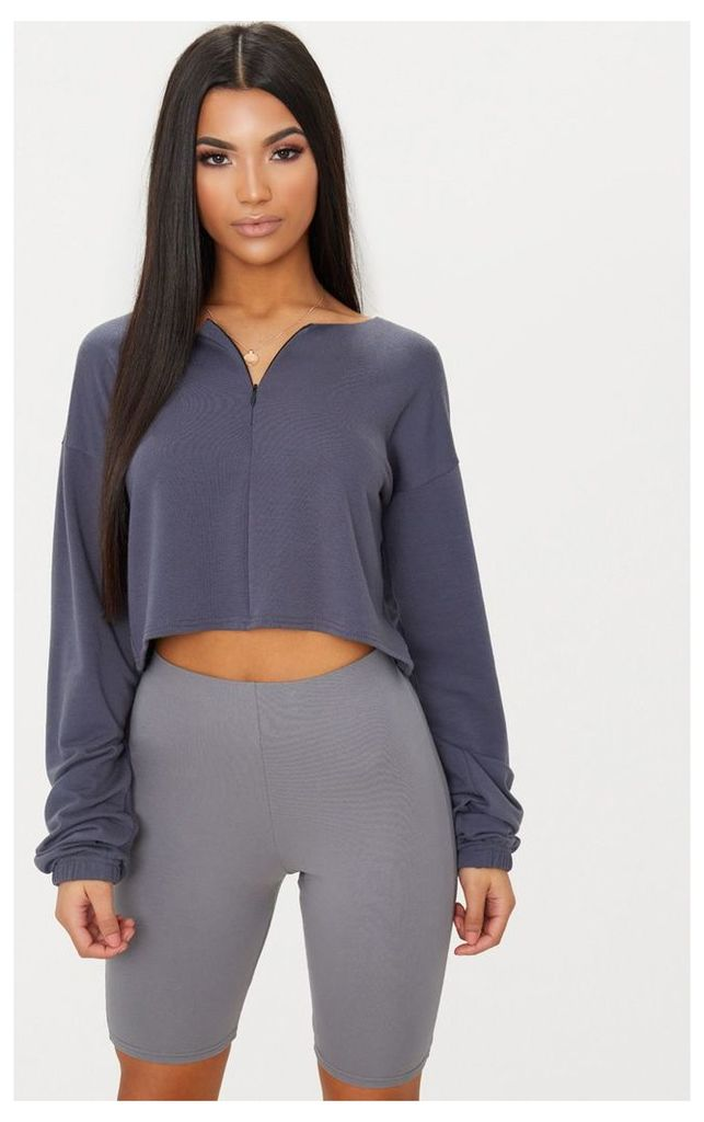 Charcoal Blue Zip Front Sweater, Charcoal Blue