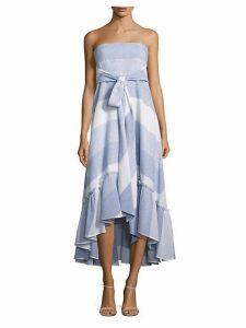 Nash Striped Tie-Front Strapless Dress