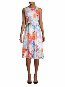 Floral Knee-Length Flare Dress
