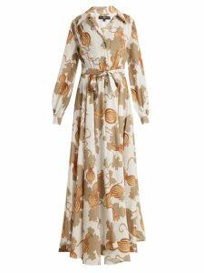 Edward Crutchley - Tie Waist Leaf Print Woven Dress - Womens - White Multi