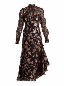 Erdem - Faylin Floral Fil Coupe Dress - Womens - Black Pink