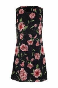 Floral Overlay Swing Dress
