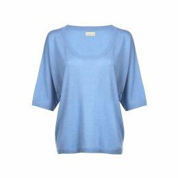 Asneh - Alaskan Blue Gretha Batwing Top In Silk Cashmere