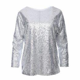 Zalinah White - Jasmine Silver Glitter Sequin Top