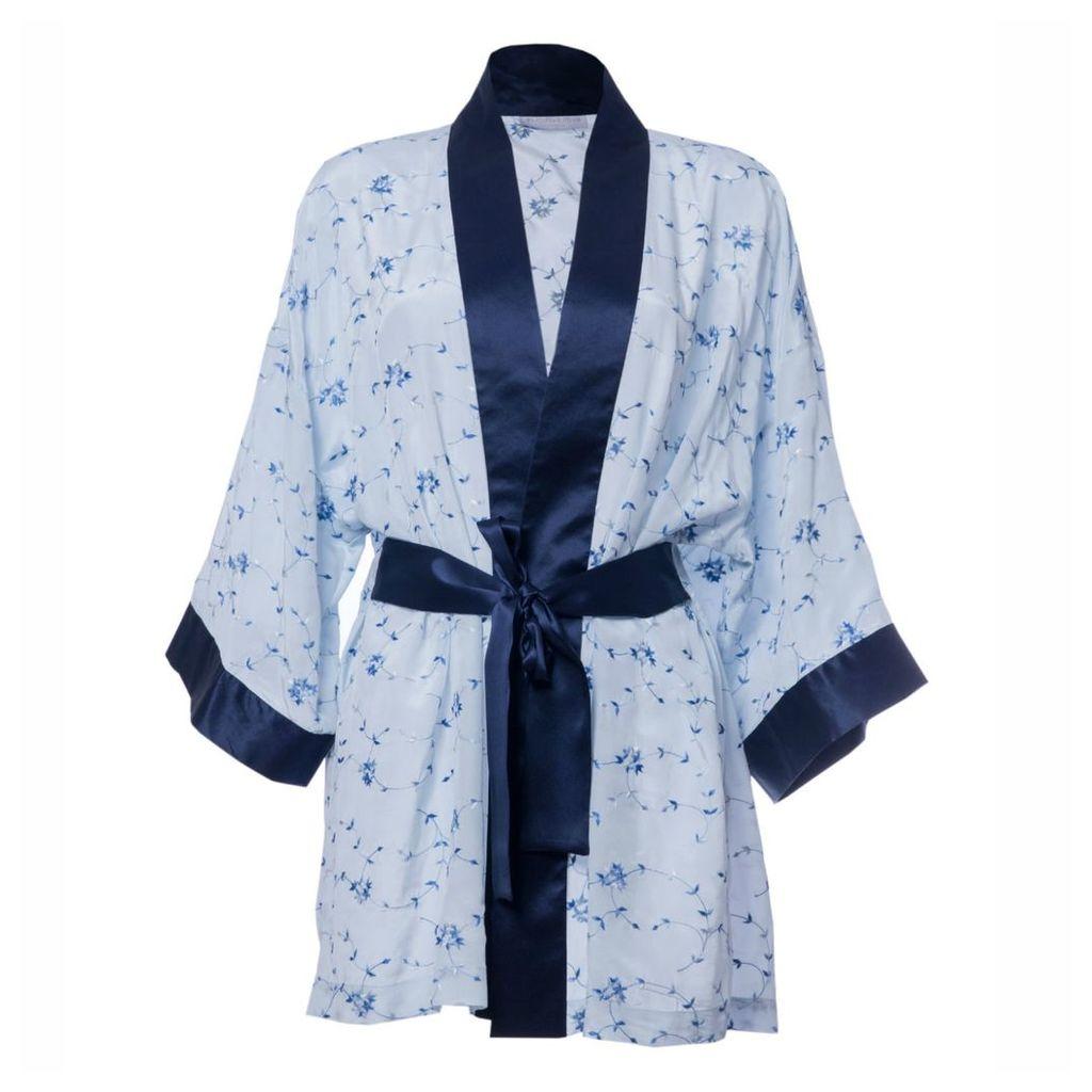 Roses Are Red - Sonata For The Dawn Silk Kimono Blue