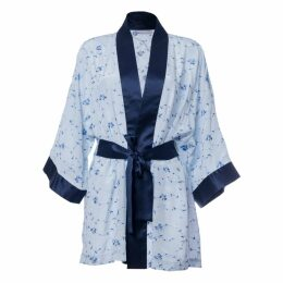 Roses Are Red - Sonata For The Dawn Silk Kimono Blue