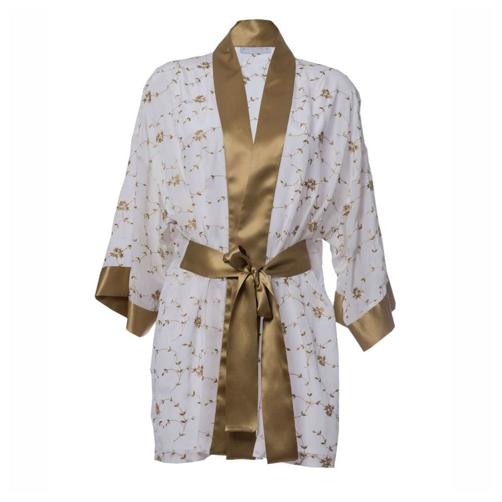 Roses Are Red - Sonata For The Dawn Silk Kimono Ivory