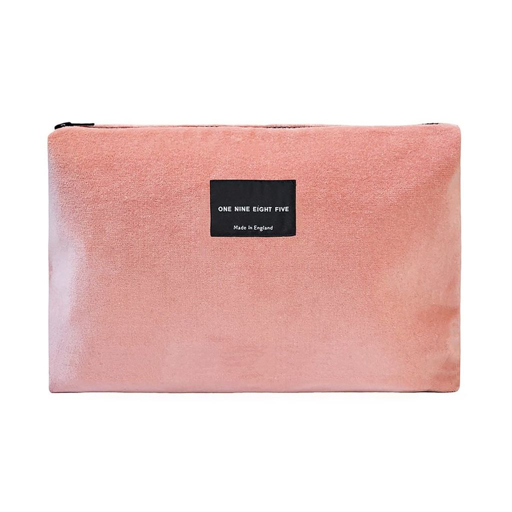 ONE NINE EIGHT FIVE - Pink Velvet Zip Pouch Large