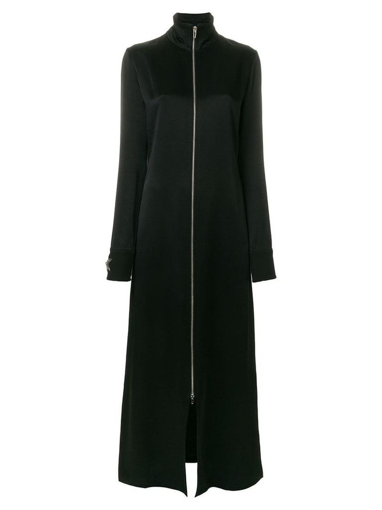 Amen crystal star embellished long coat - Black