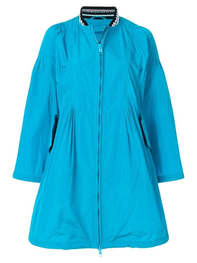 Ermanno Scervino zipped knitted neck coat - Blue