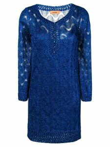 Missoni embroidered fitted dress - Blue