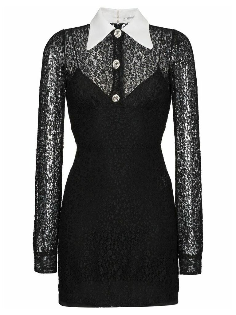 Alessandra Rich Silk Mini lace dress with contrast collar - Black