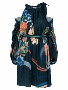 Fendi cold-shoulder floral dress - Blue