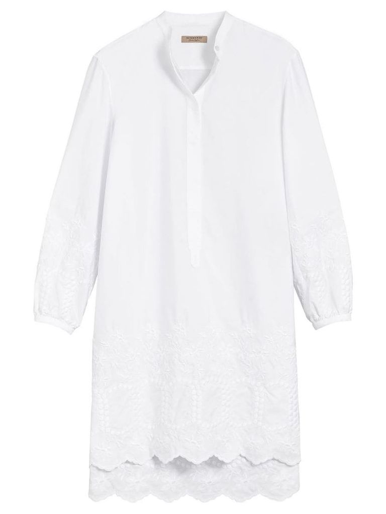 Burberry embroidered shirt dress - White