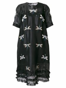 Rochas dragonfly embroidered peasant dress - Black