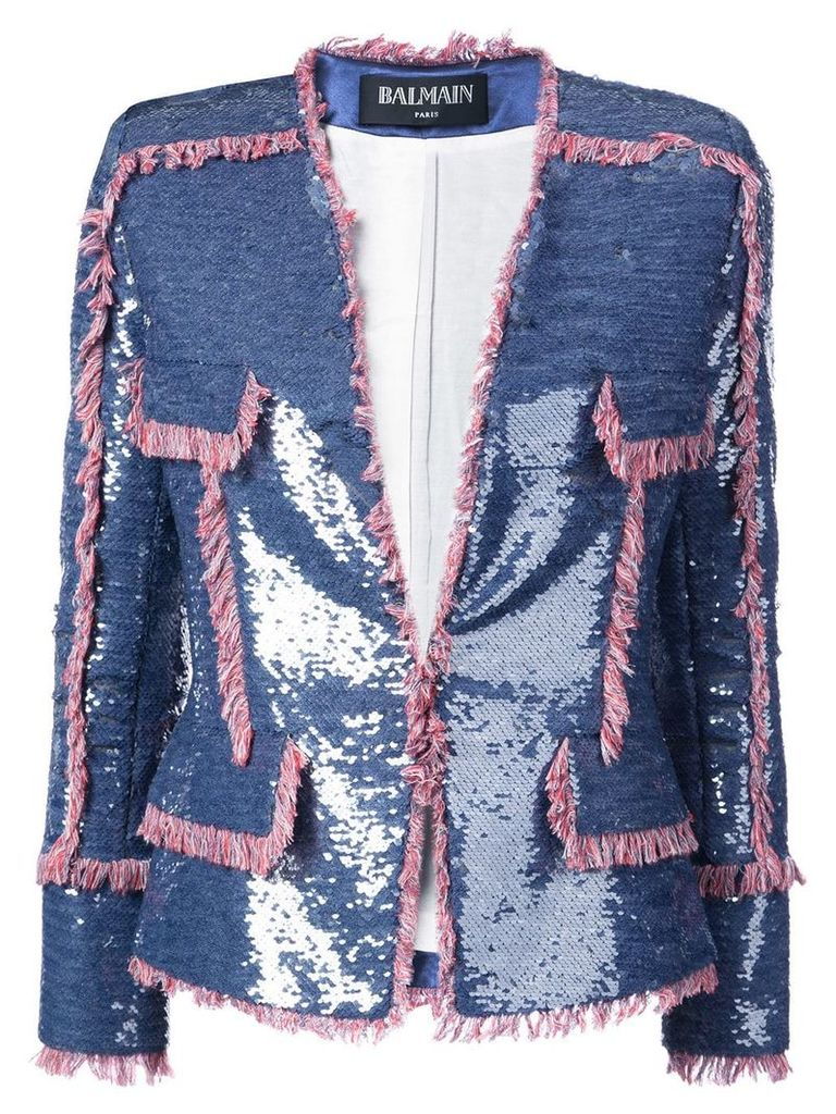 Balmain sequin-embellished jacket - Purple