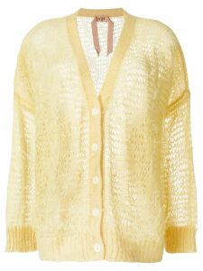 Nº21 oversize open-knit feather cardigan - Yellow