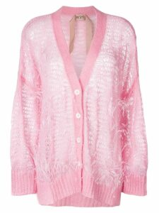 Nº21 oversize open-knit feather cardigan - Pink