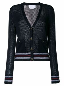 Thom Browne Mesh Stitch V-neck Cardigan With Float Stitch Red, White