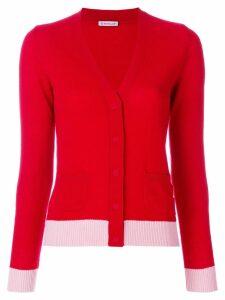 Moncler cashmere V-neck contrast cardigan - Red