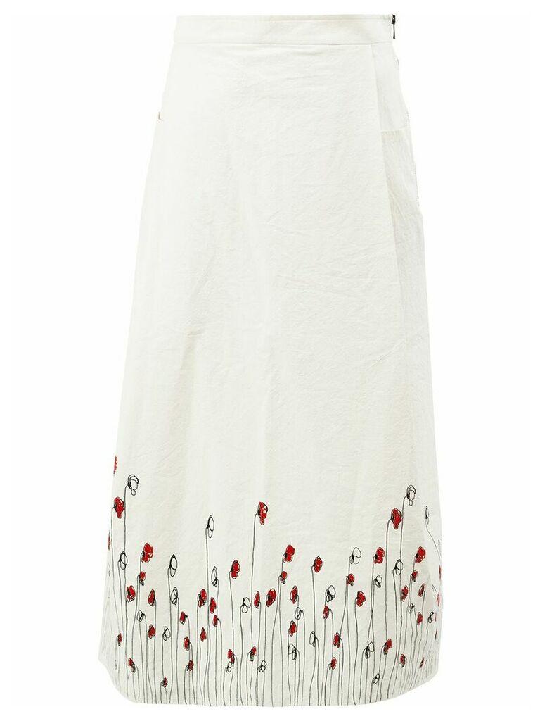 Miaoran floral print a-line skirt - White