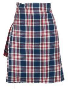 R13 check asymmetric apron skirt - Blue