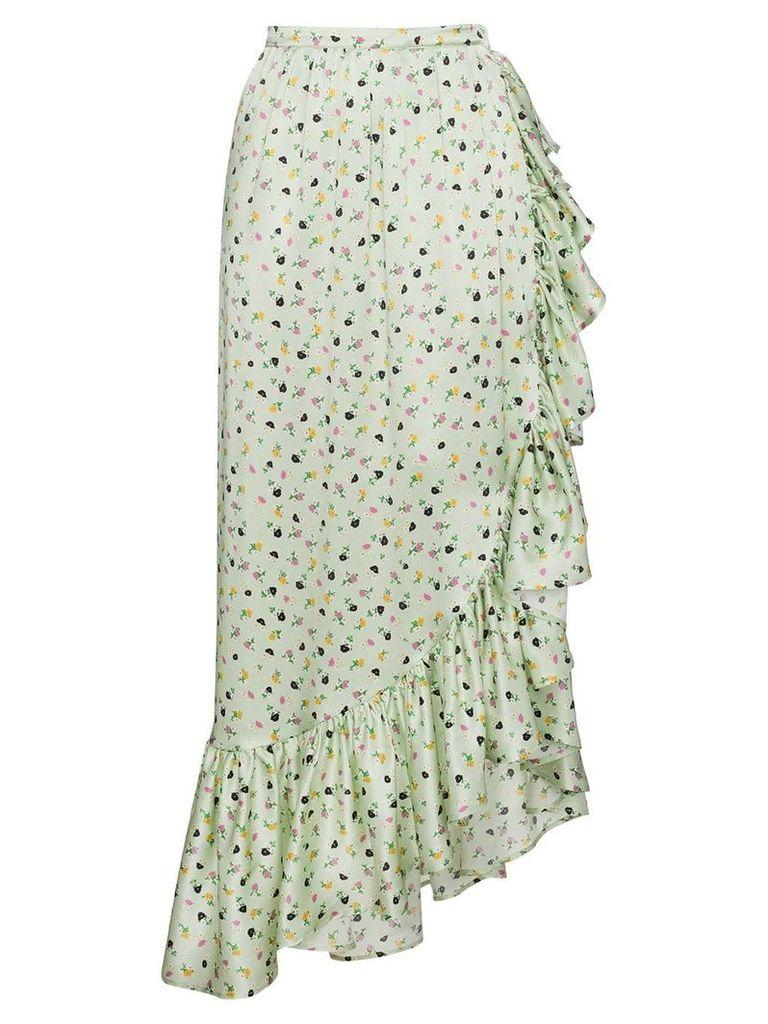 Attico Silk Floral Wrap Skirt - Green