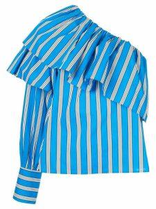 MSGM asymmetric ruffle trim shirt - Blue