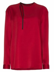 Haider Ackermann Silk Cut Out Detail Top - Red