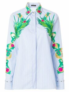 Versace embroidered striped shirt - Blue