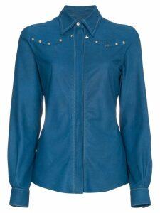 Skiim Leather shirt with studs - Blue