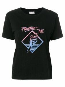 Saint Laurent Paradise Trip slogan T-shirt - Black