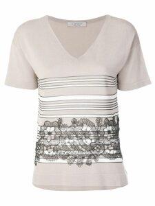 D.Exterior lace insert T-shirt - Neutrals