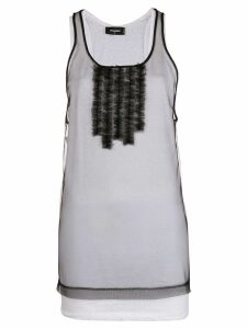 Dsquared2 sheer frill-embroidered tank top - Black