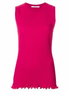 Givenchy ribbed ruffle trim top - Pink