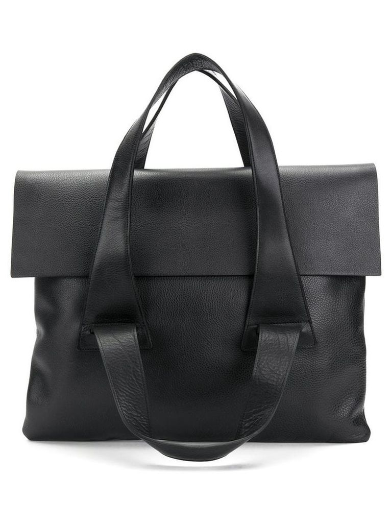 No/An multi-strap flap tote - Black