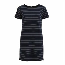 Striped Mid-Length T-Shirt Dress with Short Sleeves