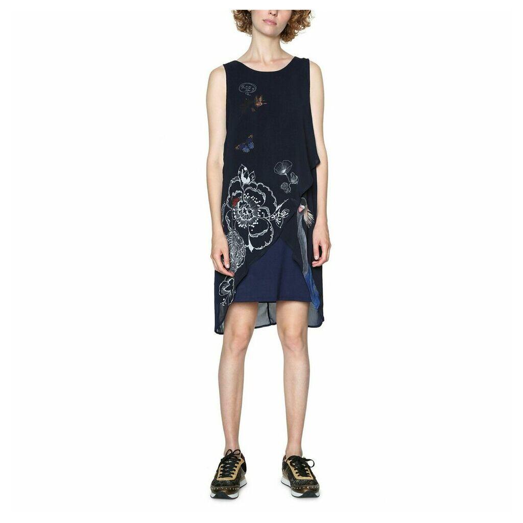 Short Sleeveless Graphic Print Shift Dress