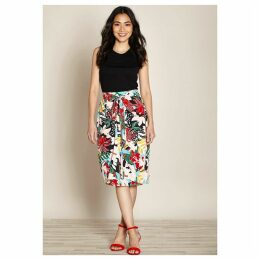 Floral Print Wrapover Skirt