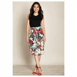 Floral Print Wrapover Skirt