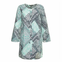 Floral Print Straight Cut Round Neck Tunic with 3/4 Length Sleeves
