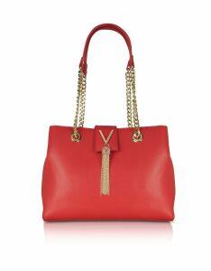 Valentino by Mario Valentino Designer Handbags, Small Lizard Embossed Eco Leather Divina Shoulder Bag w/Chain Straps