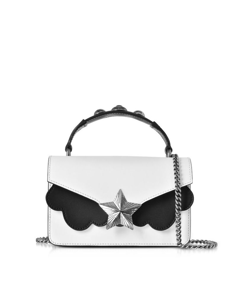 Les Jeunes Etoiles Designer Handbags, White & Black Leather Vega Mini Shoulder Bag